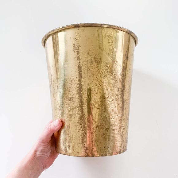 Vintage Brass Gold Waste Basket